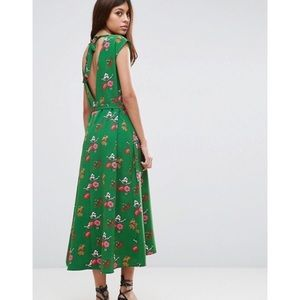 Midi Tea Dress Green Ditsy Floral Open Back sz 12